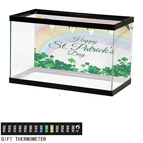 wwwhsl Aquarium Background,St. Patricks Day,Celebration Greeting with Rainbow and Flags Lucky Clovers Shamrock Plant,Multicolor Fish Tank Backdrop 48