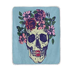 ALAZA Home Decor Hipster Floral Sugar Skull Blue Blanket Soft Warm Blankets for Bed Couch Sofa Lightweight Travelling Camping 60 x 50 Inch Throw Size for Kids Boys Women