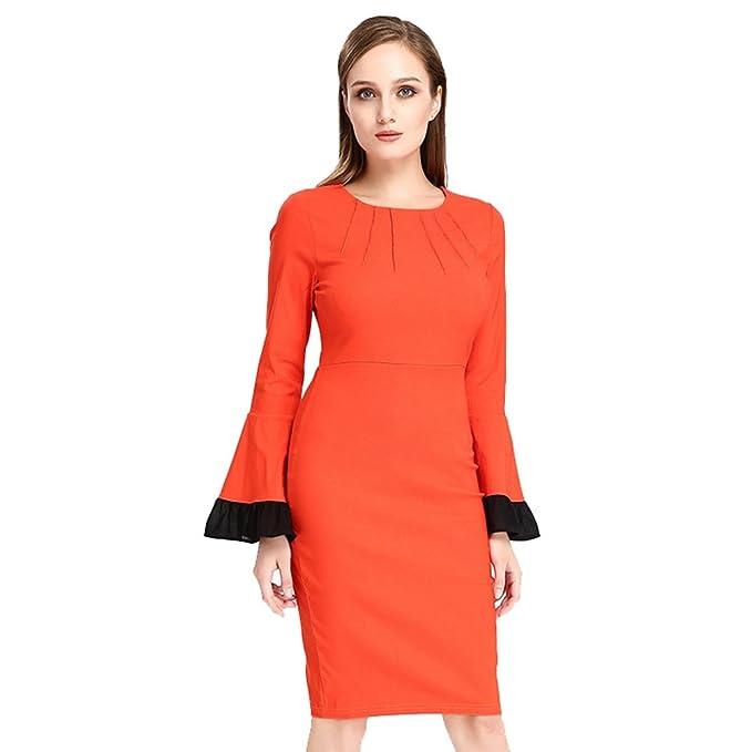 the latest 38808 8c59f WanYang Donna Vintage Vestito Donna Manica Lunga Collo ...