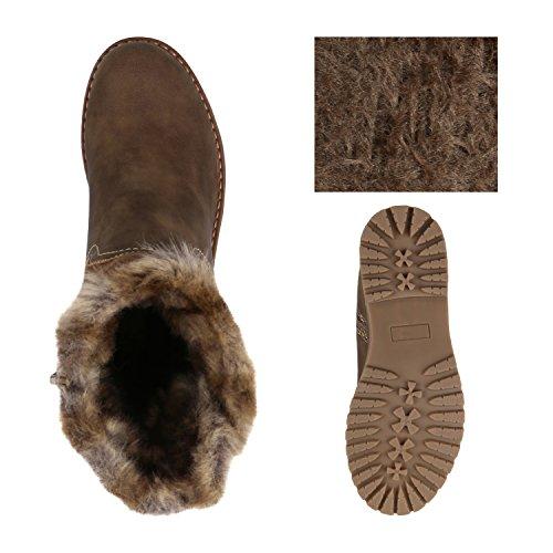 Klassische Damen Stiefeletten Blockabsatz Boots Gefütterte Stiefel Strass Umschlagbarer Schaft Satin Optik Schleifen Flandell Khaki Amares