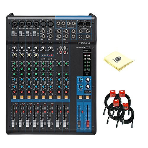 Yamaha MG12 Analog 12 Channel Audio Mixer with 6 Microphone Preamps, 4 Dedicated Stereo Line Channel, 2 Aux Sends, EQ, 1-knob Compressors with 4 Mixer Cable and Zorro Sounds Mixer (4 Knob Compressor)