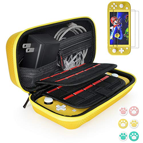 Hestia Goods Carrying Case for Nintendo Switch Lite with 2 Pack Screen Protector & 6 Pcs Thumb Grip, 20 Game Cartridges Hard Shell Travel Carrying Switch Lite Pouch Case Console & Accessories, Yellow