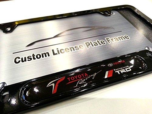 (TOYOTA RACING TRD Logo Emblem Modern GLOSS BLACK Finish License Plate Frame Automotive Grade 100% Stainless Steel Durable Construction, Fits all Toyota Lexus Scion Racing Gazoo Racing GRMN Models)