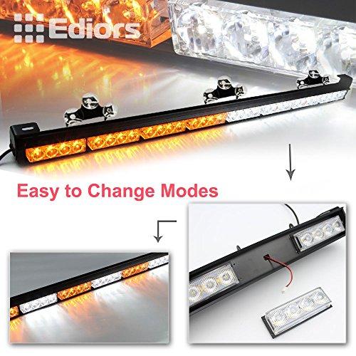 Ediors 35.5″ 32 LED Emergency Traffic Advisor Flash Hazard Strobe Light Bar With Large Suction Cups Warning Amber/White
