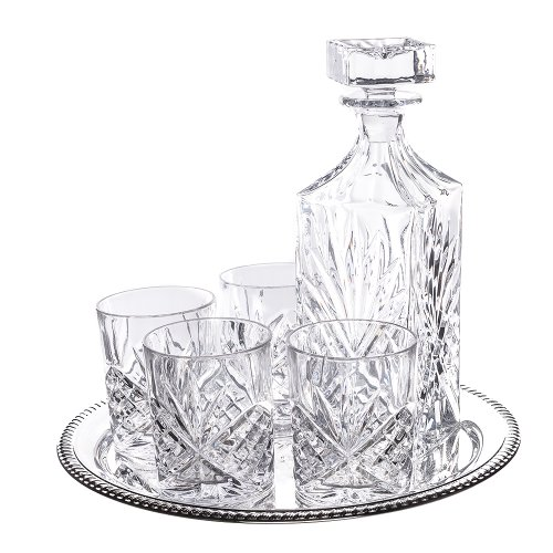 Klikel 6-piece Dublin Whiskey Drinkware Barware Drink Set With 4 Double Old Fashioned Glasses, Silver-plated Round Mirror Tray And Star Design Square (Silver Plated Decanter)