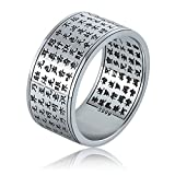 MetJakt Buddhist Scriptures Rings Solid S999 Fine Silver Couple Ring for Men and Women Jewelry Lovers' Jewelry