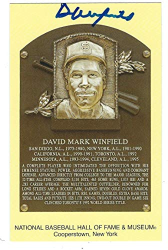 - Autographed Dave Winfield Hall Of Fame Gold Plaque