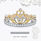 Chic Code Yellow & White Gold Plated 925 Sterling Silver Princess Crown Ring - Top Tiara Ring Gift