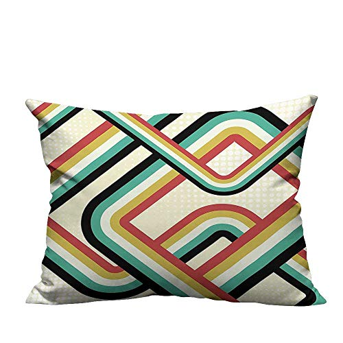 YouXianHome Decorative Couch Pillow Cases Striped Artistic Subway Lines Inspired Digital Graphic Design Teal Dark Coral Yellow Easy to Wash(Double-Sided Printing) 13x17.5 inch
