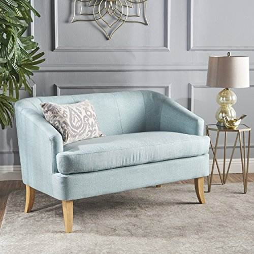 Shelby Mid Century Modern Beige Fabric Loveseat (Light Blue)