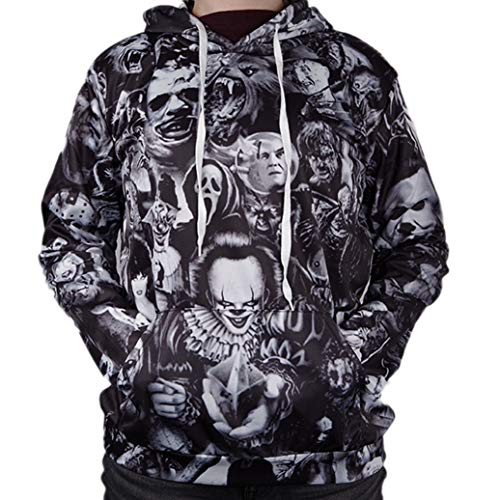oppsu Unisex 3D Digital Print Novelty Hoodies Funny Sweatshirt Hooded Pullover with - Long Sleeve Zombies Funny