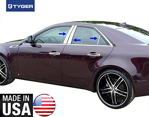 Made in USA! Works with 2014-2015 Cadillac CTS 6PC Stainless Steel Chrome Pillar Post Trim ()