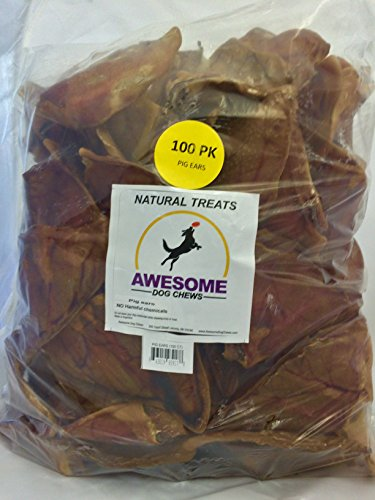 100% Awesome Dog Chews All Natural Pig Ears 100 Count Value Bag - FDA / USDA Inspected Through a Registered FDA Plant by Awesome Dog Chews