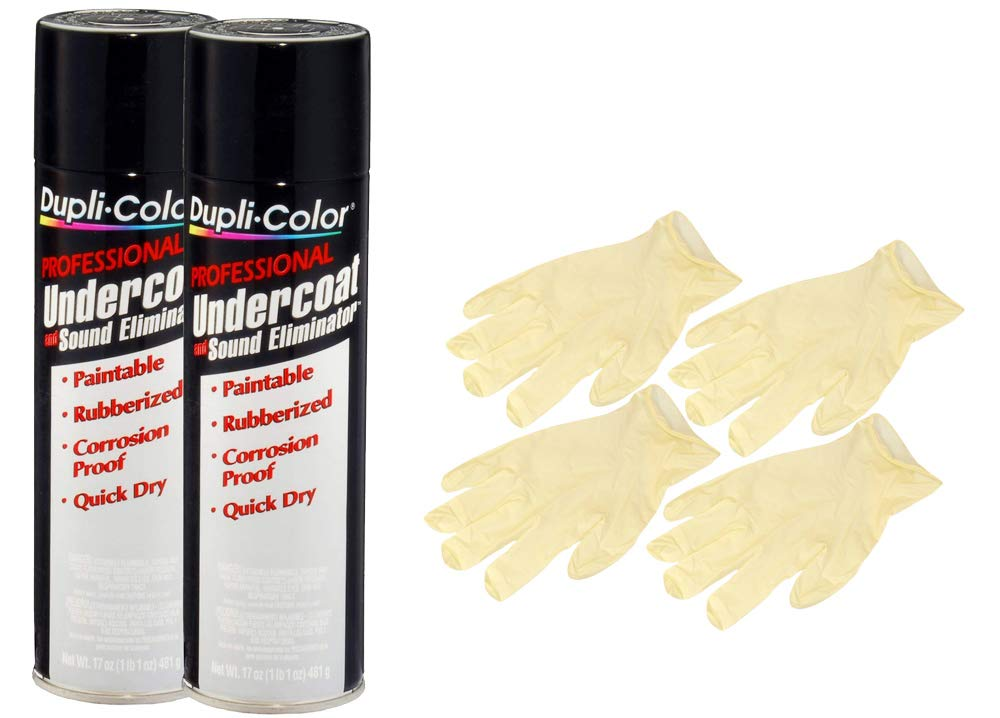 Duplicolor Professional Undercoating & Sound Eliminator Spray (17 oz) Bundle with Latex Gloves (6 Items)