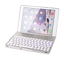 iPad Air 2 Keyboard Case, F8S+ Slim Bluetooth Clamshell Keyboard Case with 7 Colors LED Backlit for iPad 6 Steven (Silver)