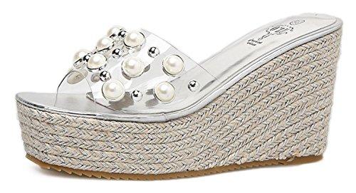 Zapatos de cuña de la nueva CYGG Women's High Heels New Summer Fashion Zapatos de cuña al aire libre silver