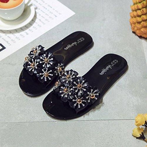 Black Sandals Platform Slippers Ladies hunpta Beach Summer Shoes Wedge Casual Floral Women 8S86Pq4