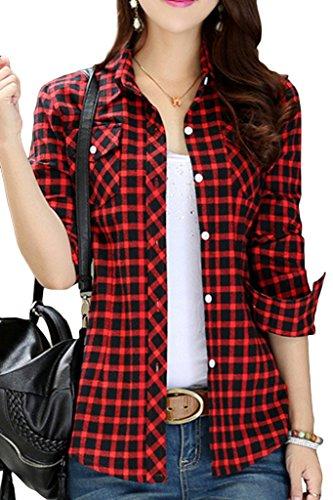 Lasher Women's Button Down Plaid Shirt Warm Long Sleeve Fleece Lined Top Blouse Red Black M