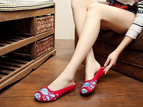 XHX Porcelana azul y blanca Zapatos bordados, lencería, estilo étnico, flip flop femenino, moda, cómodo, sandalias Red