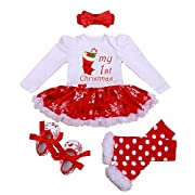 Newborn Baby Girls Christmas Romper Tutu Dress Outfit Headband Leg Warmer Shoes
