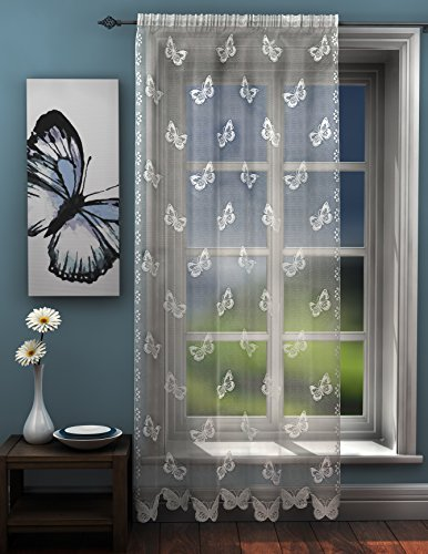 Butterflies lace net curtain panel white butterfly voile Curtain Panel 56 x 54 Drop (142cm x 137cm) Approx plain slot top traditional sheer elegant net by HOME-EXPRESSIONS