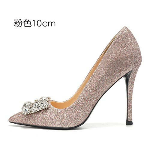 eau mariée mariage de chaussures shoes diamant Escarpins chaussures high hauts HUAIHAIZ heeled 10CM Pink Chaussures soirée femme female The Talons de de BPAFzYq