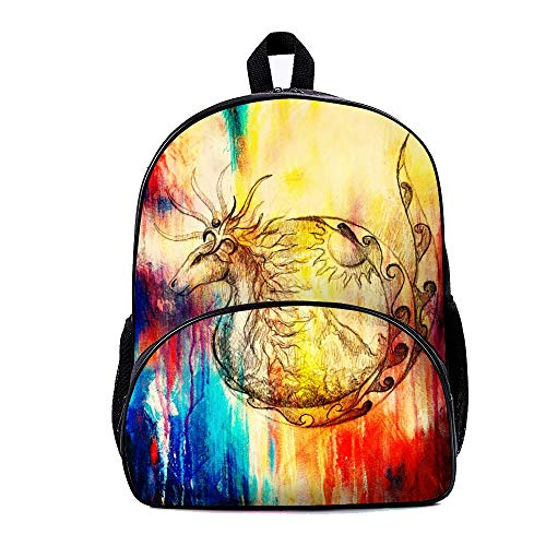 Mesllings The Ancient Deer With Abstract Colorful Background Casual Style Lightweight Backpack School Bag Travel Holiday Gift Daypack For Boys And Girls (Ancient Deer)