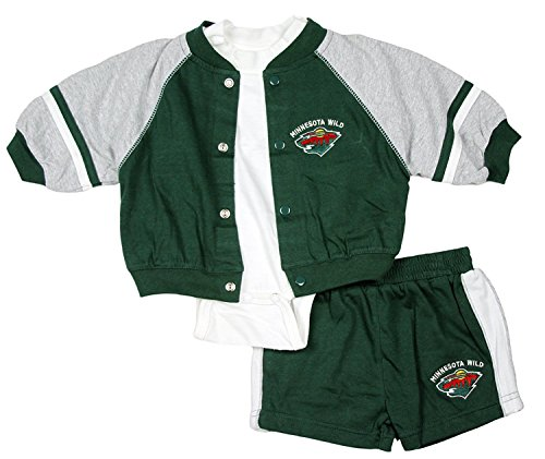 Minnesota Wild NHL Infants 3-piece Set, Green and Grey - Minnesota Wild Set