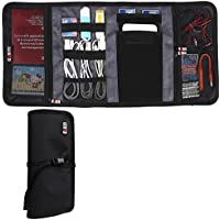 BUBM New Wrap Electronics Accessories Travel Organizer, Fit iPhone 6s, 4 Folder, Black