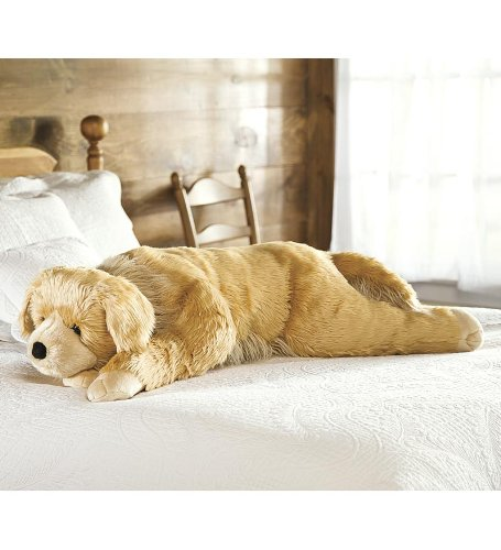 Super Soft Golden Retriever Body Pillow with Realistic Features by Plow & Hearth