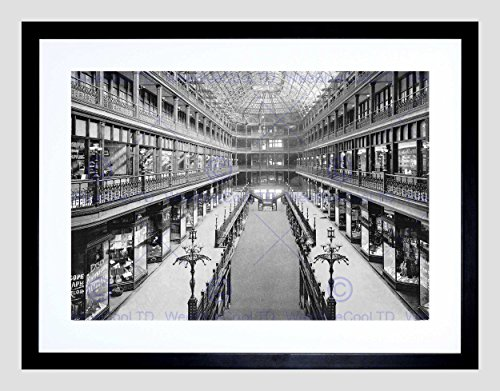 THE ARCADE CLEVELAND 1901 VINTAGE HISTORY OLD BW FRAMED ART PRINT MOUNT B12X1100