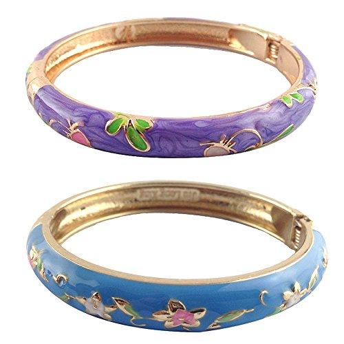 - UJOY Fashion Cloisonne Bracelet Gold Colorful Enameled Metal Cuff Hinge Bangles Jewelry for Women Girls Gift 55A84-B09 Blue-Purple
