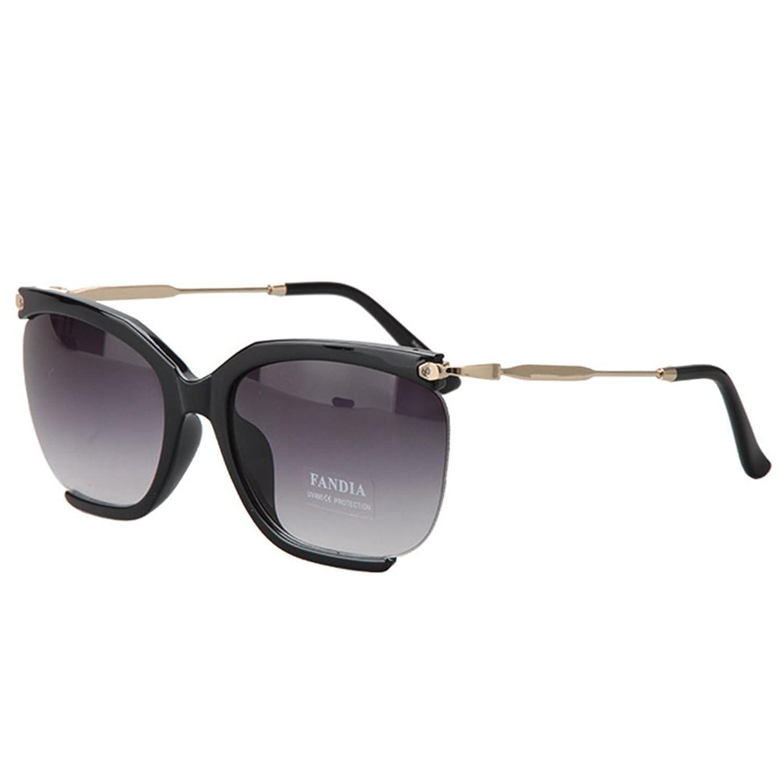Hemss Women Retro Box Sunglasses Metal Half-rimmed Spectacles UV400 For Men And Women