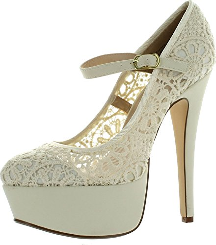 JJF Shoes Anne Michelle Realove-07 Women's Crochet Mary Jane Platform (Anne Michelle Pumps)
