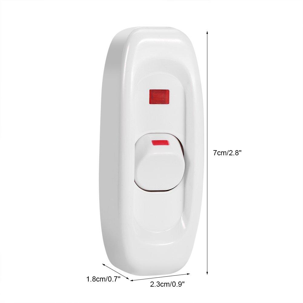 Interruptor de luz 5Pcs AC 250V 10A Inline ON//OFF Mesa L/ámpara de escritorio Cable Cable Interruptor con luz indicadora LED Color : Blanco