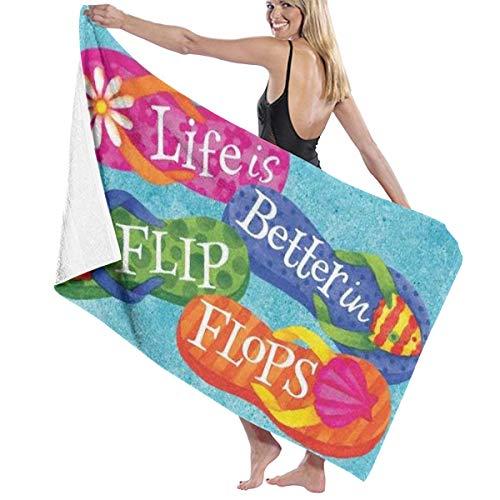 (CMJIUSF Cotton Beach Towel Luxury Microfiber Absorbent Bath Towels Quick-Drying Towel -Life is Better in Flip-Flops)