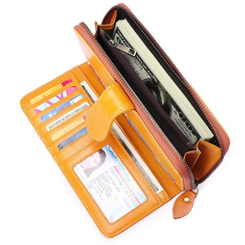Accessories Ghs (Solid Color Wallet Clutch Real Leather Less is More Long Simple Purse Card Holder for Women Lady Female)