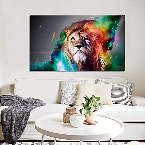 HGlSG Gran tamaño Pangu Cultura Animal Moderno Colorido Rey León Lienzo Pintura HD Impresión en Lienzo Paisaje Pintura Arte de la Pared Lienzo A3 60x90cm