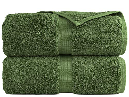"100% Luxury Turkish Cotton, Eco-Friendly, Soft and Super Absorbent 35"" x 70"" Large Bath Sheets (Moss, Set of 2)"