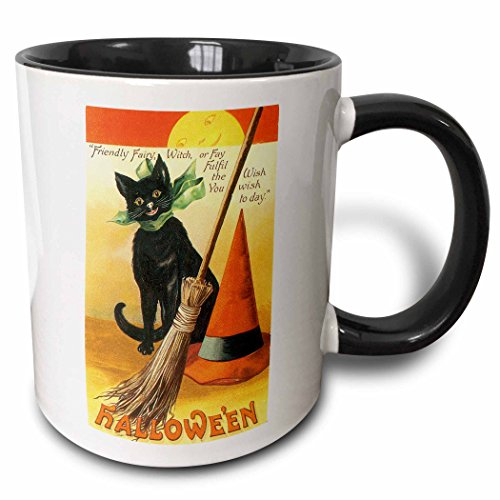 3dRose 126143_4 Vintage Halloween Black Cat Broom and Witch's Hat Mug 11 oz ()