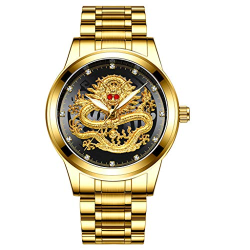 Sodoop Wrist Watches for Mens 30M Waterproof Luxury Golden Analog Quartz China Diamond Dragon Face Pattern Dial Watch, with Stainless Steel Strap Wristwatch (E)