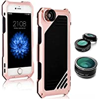 iPhone 7 Camera Lens Kit Case, SHEROX- 3 in 1 198° Fisheye Lens + 15X Macro Lens + Wide Angle Lens with IP54 Dustproof Shockproof Aluminum Case, Built-in Screen Protector 4.7 Inches (iPhone 7 Rose)
