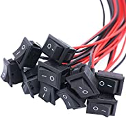 Twidec/10Pcs AC 6A/250V 10A/125V SPST 2 Pins 2 Position ON/Off Car Boat Square Black Rocker Switch Toggle with