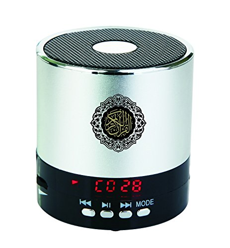 Digital Quran Speaker 8GB FM Radio with Remote Control over 30Reciters and Translations Available Quality Qur'an Player Arabic English French, Urdu etc Mp3 Silver Color