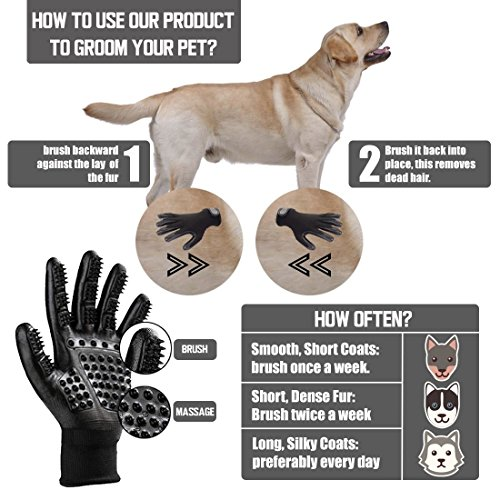 Pet Grooming Glove - Hair Remover Brush for Dogs, Cats & Horses with Long Short Fur | Gentle & Breathable Massage Bathing Brush Tool with Enhanced Five Finger Design by Pet Pet (Image #3)