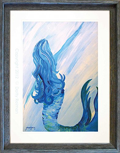 Mermaid Art Titled Looking Back by Tamara Kapan with ArtDivas framed, 18X24