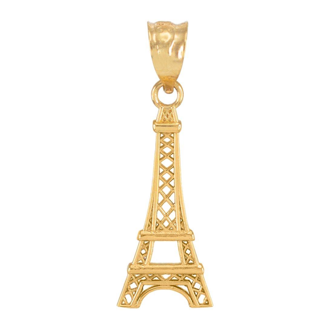 LA BLINGZ 10K Yellow Gold Paris Eiffel Tower Travel Charm Pendant