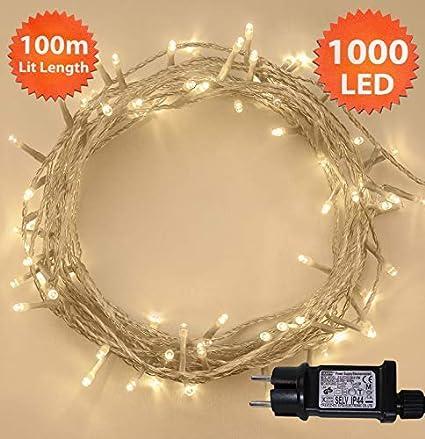 Luci natalizie 100 LED Bianco caldo albero luci interne ed esterne uso Catene leggere luci funzione di memoria, alimentazione luci fata 10m/33ft illuminato lunghezza con- cavo filo verde ANSIO ANSIO 2503