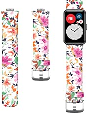 Patterned Silicone Strap for Huawei Watch Fit - (White - Flowers)