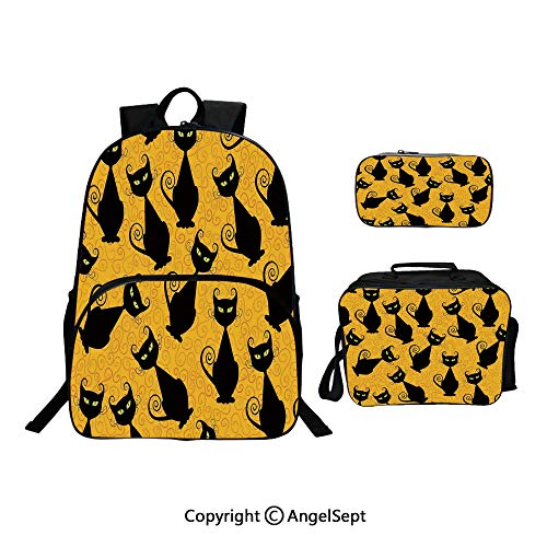 Fashion Casual School Student Backpack,Black Cat Pattern on Orange Background Halloween Witch Pet Graphic Black Orange,Lightweight Daypack With Lunch Bag And Pencil Case For Girls